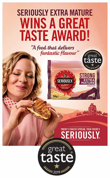 Poster describing seriously strong's win of the great taste awards, with woman eating a grilled cheese tostie